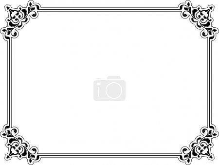 Photo pour Bordure florale décorative en noir sur fond blanc - image libre de droit