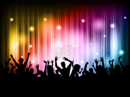 Photo pour Silhouette d'une foule de fête sur un fond de lumières colorées - image libre de droit