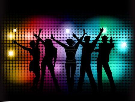Photo pour Silhouettes de danser sur un fond de néons - image libre de droit