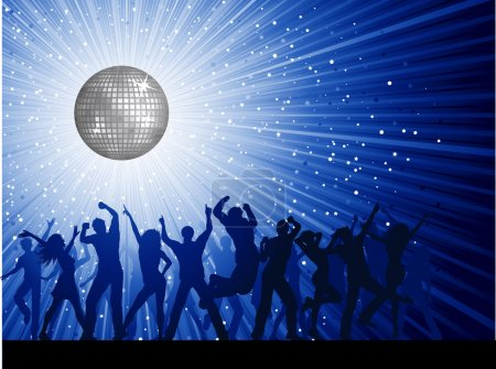 Photo for Silhouettes of party on a mirror ball disco background - Royalty Free Image