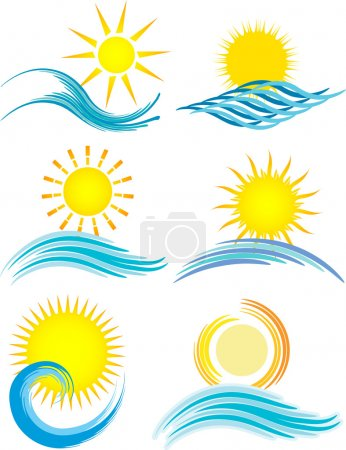 Photo for Collection of six different summer themed icons - Royalty Free Image