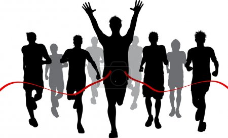 Photo for Silhouettes of men racing withone winner reaching the finish - Royalty Free Image