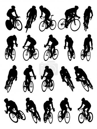 Illustration for 20 detail racing bicycle silhouette - Royalty Free Image