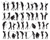 40 female golf poses silhouette