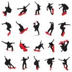 20 skateboarders silhouette...