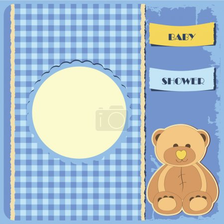 Illustration for Baby shower for boy. Greeting card. Frame and place for your text or picture - Royalty Free Image