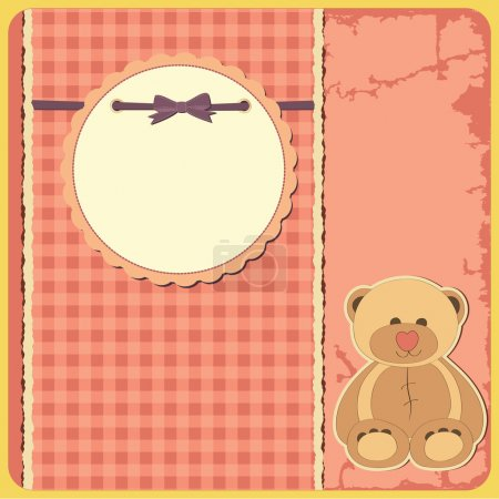 Illustration for Baby shower for girl. Greeting card. Frame and place for your text or picture - Royalty Free Image