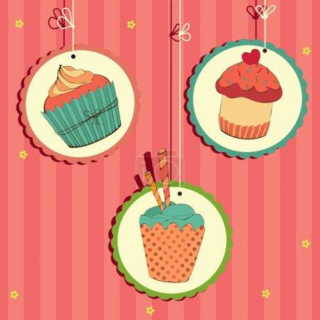 Cute retro cupcake on the string . Vector card....