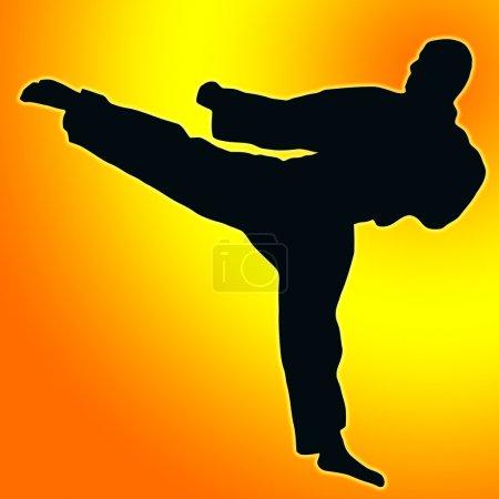 Gold Orange back Sport Silhouette - Karate Kick