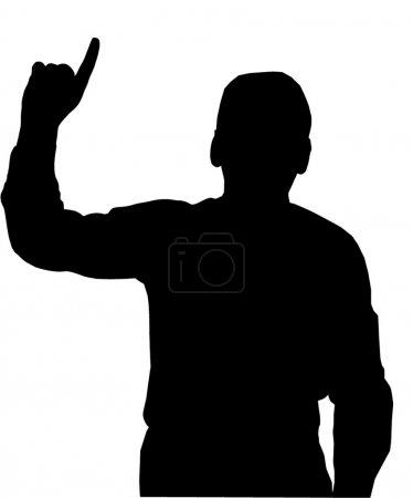 Man pointing upwards