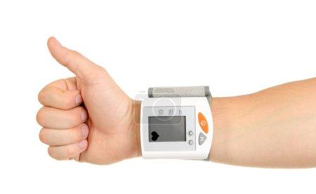 Photo pour Pouces levées pour une pression artérielle saine isolée sur fond blanc - image libre de droit