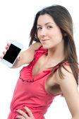 žena ukazuje displej její nový dotykový mobilní telefon