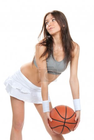 Pretty brunette woman hold Basketball ball in hand