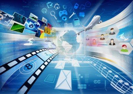 Photo pour Image conceptuelle sur comment un ordinateurs avec internet ouvrent une porte virtuelle au partage de l'information dans le monde entier. - image libre de droit