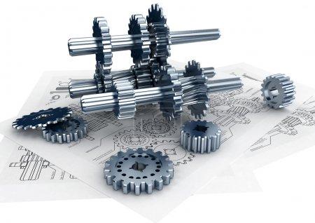 Photo pour Concept d'ingénierie mécanique et technique pour la conception et la construction d'une machine - image libre de droit