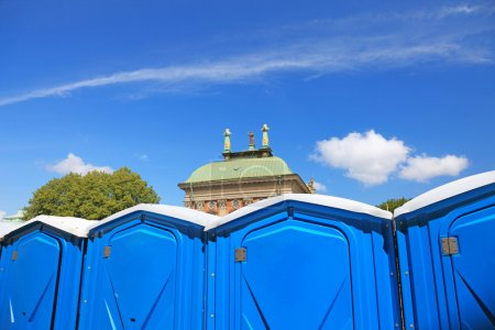 Temporary toilet cabins in center of Stockholm city.