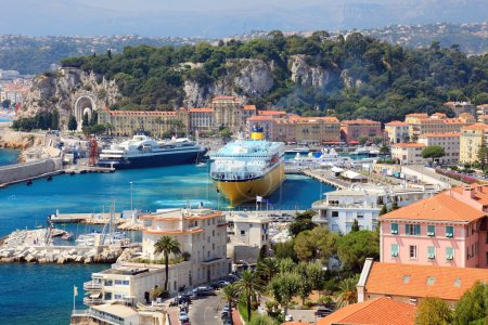 Beautiful harbor od Nice with big cruise ships, France, Europe.
