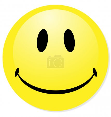 Vector smiley yellow emoticon. Perfect for icon, button, badge.