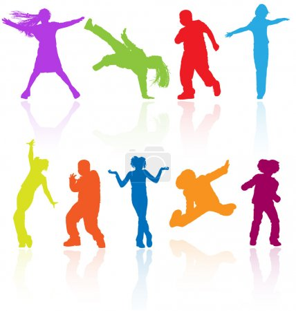 Set of colored dancing, jumping and posing teenagers vector silh