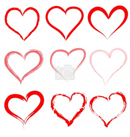 Collection of red artistic hand drawn hearts. Heart shape outline vector.