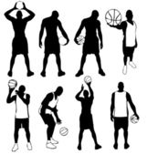 Set of vector basketball players silhouettes Easy to edit any