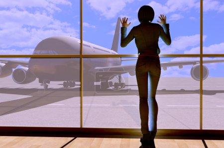Photo pour Silhouette d'une fille près de la fenêtre de l'aéroport . - image libre de droit