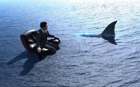 Photo pour L'homme assis sur une chaise sur la mer . - image libre de droit