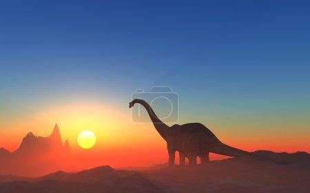 Foto de Dinosaurio gigante en el fondo del cielo colorido. - Imagen libre de derechos