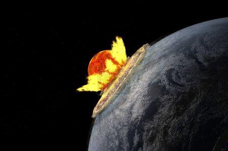 Photo pour La mort de la planète dans le cosmos. - image libre de droit