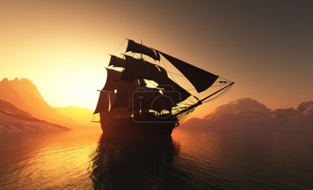 Photo pour Vieux bateau avec voiles dans la brume . - image libre de droit