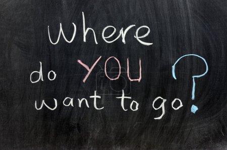 Photo pour Écriture de craie - Où voulez-vous aller ? - image libre de droit