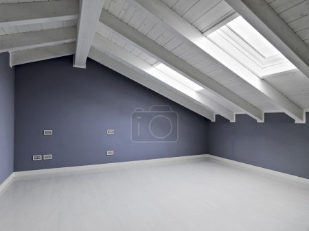 Empty room in the attic with skylight and wood ceiling