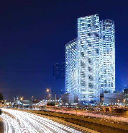 Skyline of Ayalon Highway passing through Tel Aviv...