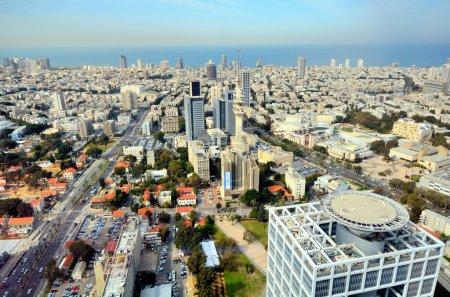 Photo for Aerial skyline of Tel Aviv, Israel. - Royalty Free Image