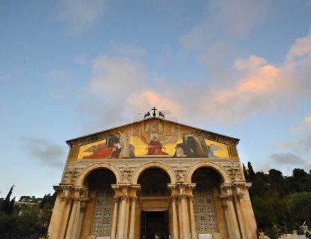 Photo pour Église de toutes les nations, également connu sous le nom de basiilca de l'agonie, est censée être la dernière place, que Jésus a prié avant l'arrestation - image libre de droit