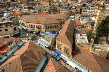 Photo for Aerial view of the Christian Quarter in Old City of Jerusalem, Israel. - Royalty Free Image