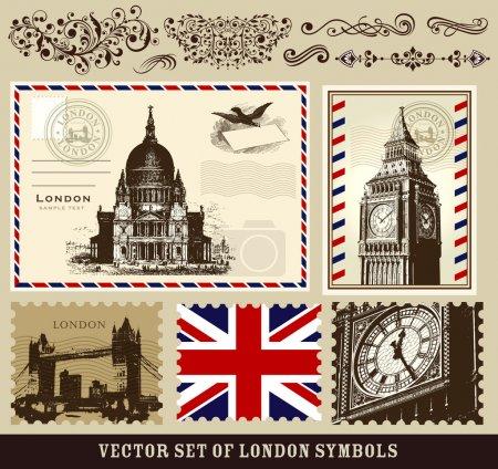 Foto de Vector conjunto de símbolos de Londres y elementos decorativos - Imagen libre de derechos