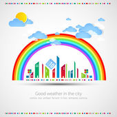 Funny city theme background with rainbow eps 10