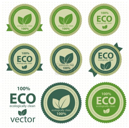 Illustration for Eco labels with retro vintage design. Vector. eps 10 - Royalty Free Image