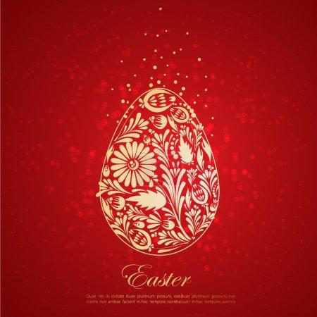 Floral golden easter egg. Vector. eps 10