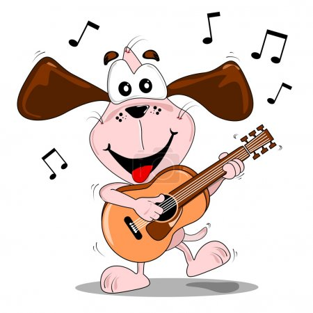 Illustration for A cartoon dog playing music & dancing with a guitar - Royalty Free Image