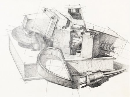 Photo for Artistic study of object shapes composition, drawn by hand - Royalty Free Image