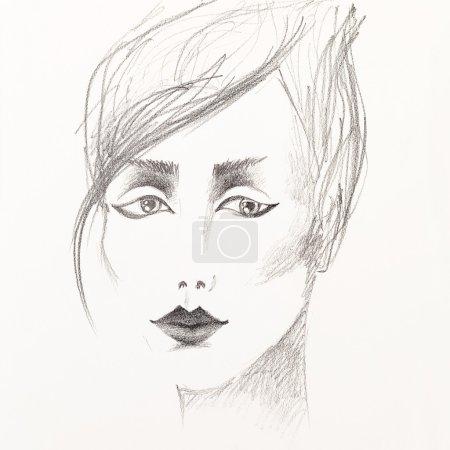 Foto de Dibujo artístico blanco y negro de una mujer joven hermosa - Imagen libre de derechos