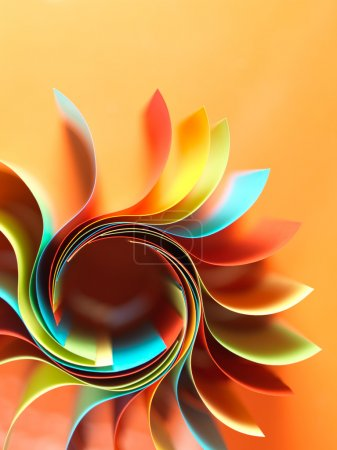 Photo for Macro image of colorful curved sheets of paper shaped like a flower, on orange background - Royalty Free Image