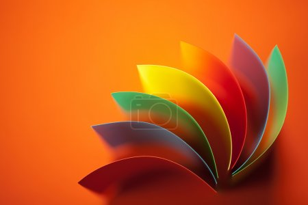 Photo for Background image of colorful origami fan pattern made of curved sheets of paper, on orange background - Royalty Free Image