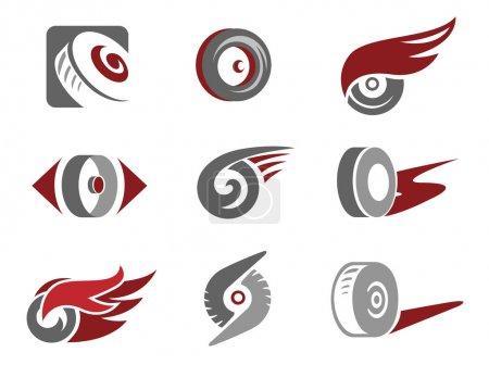 Illustration for Set of rolling wheel symbols - Royalty Free Image
