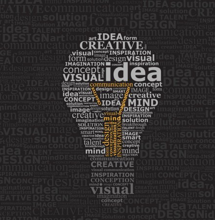 Illustration for Bulb idea made by typography on black textured background - Royalty Free Image