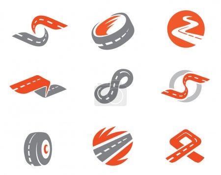 Illustration for Set 2 of road symbols. Also as emblem. - Royalty Free Image