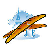 French Baguette Paris France food drink bread tower Eiffel breakfast lunch cup coffee