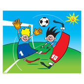 Soccer or Football game sport children boys playing